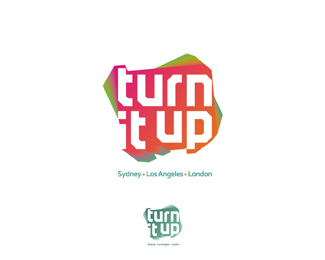 Turn It Up music management company, records label music publisher b logo design by Alex Tass