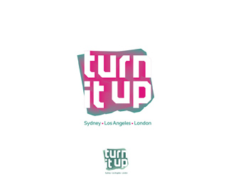 Turn It Up music management company, records label music publisher c logo design by Alex Tass