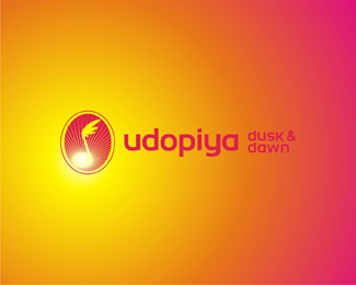 Udopiya Dusk and Dawn, electronic dance music records label, colorful logo design by Alex Tass