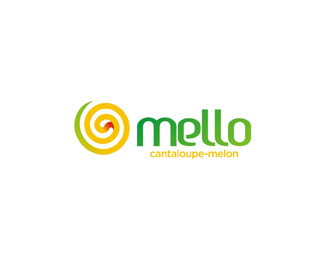 mello natural cantaloupe melon based juice logo design by Alex Tass