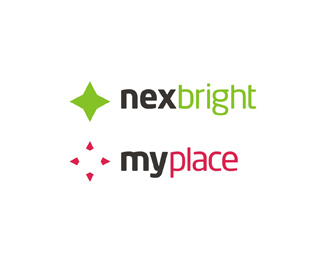 nexbright, myplace - tutoring platform, travel booking platform logo design by Alex Tass
