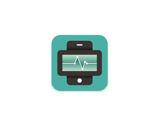 stat mobile telehealth health diagnostics application symbol logo design by Alex Tass