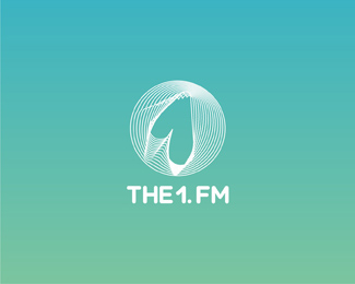 the one dot fm radio circle reversed logo design by Alex Tass