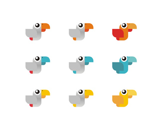 witty parrot cloud-based service application colors variations logo design by Alex Tass