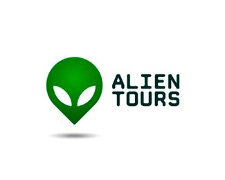 alien tours map pin point logo design by alex tass