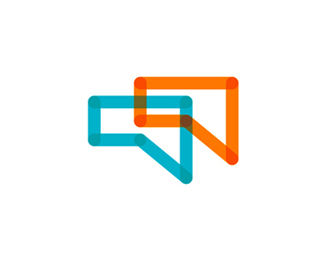 chat talk speech bubble w logo design symbol by alex tass