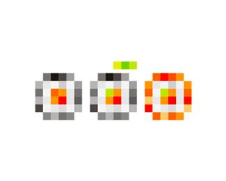 digital sushi icon symbol logo design by alex tass