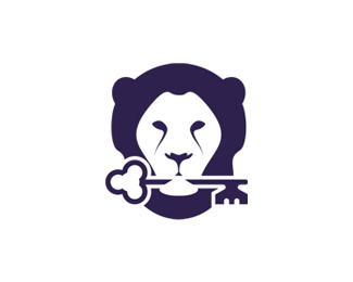 lion holding key purple logo design symbol by alex tass