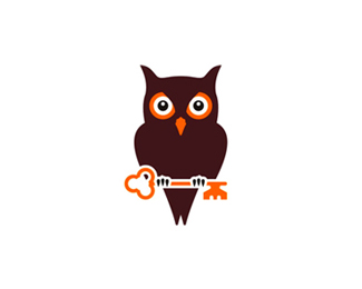 owl holding key logo design symbol by alex tass