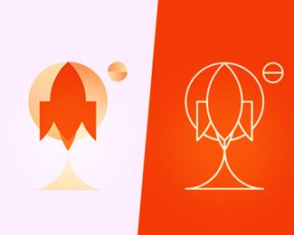 rocket logo design symbol by alex tass