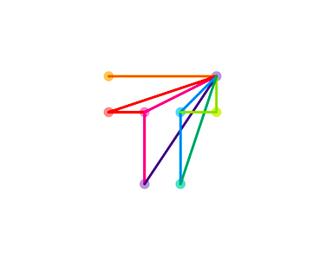 t travel plane arrow logo design symbol by alex tass
