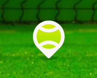tennis place pin point map logo design symbol by alex tass